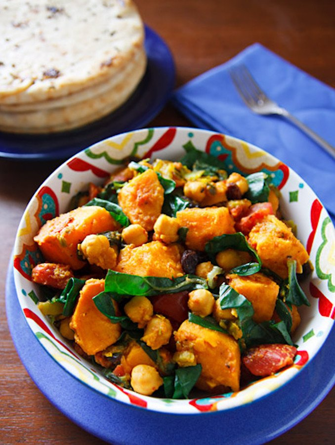 Curried Sweet Potatoes with Green Chard and Chickpeas