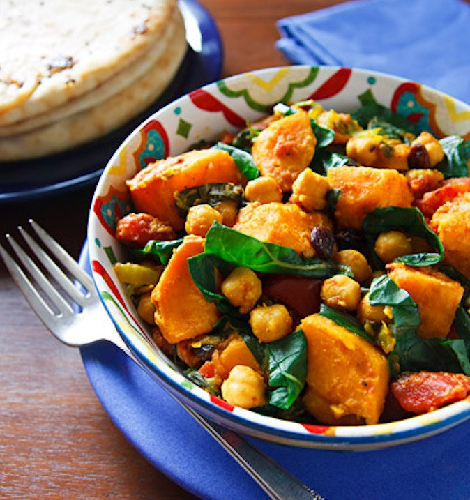 Curried Sweet Potatoes with Chickpeas & Chard