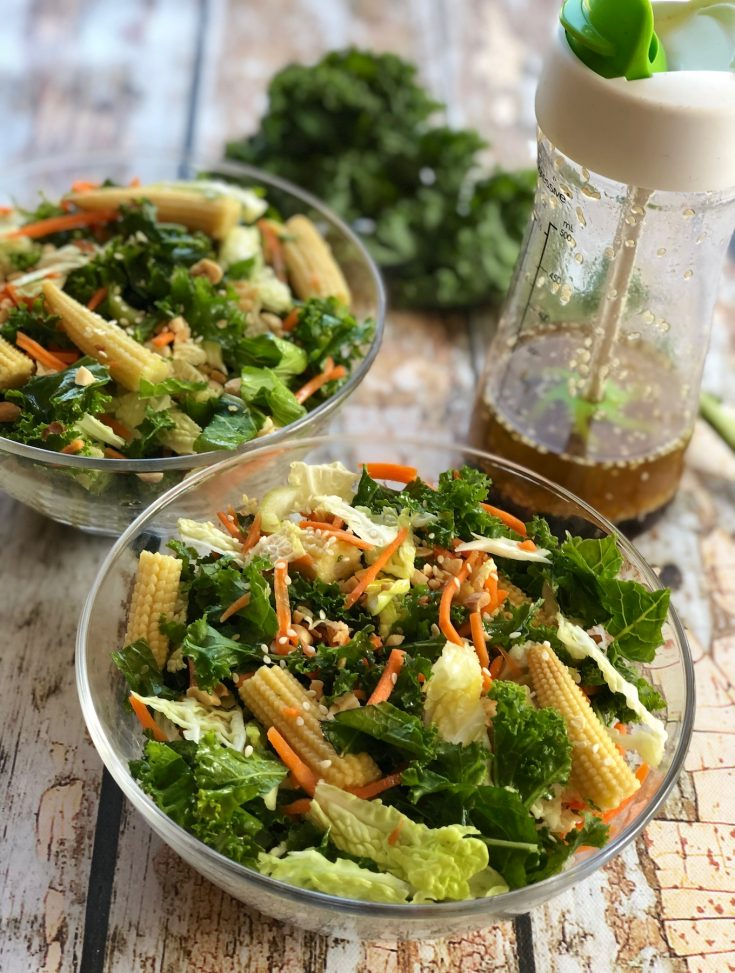 Kale and cabbage salad with Asian Flavors