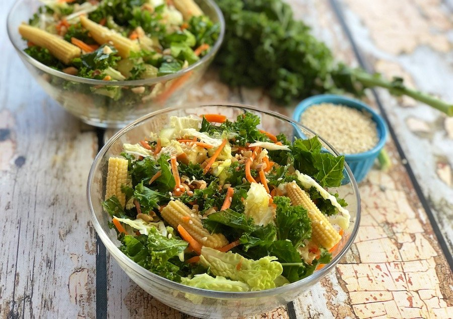 Kale and cabbage salad with baby corn & bok choy