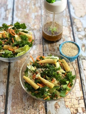 Kale and cabbage salad with sesame-ginger dressing