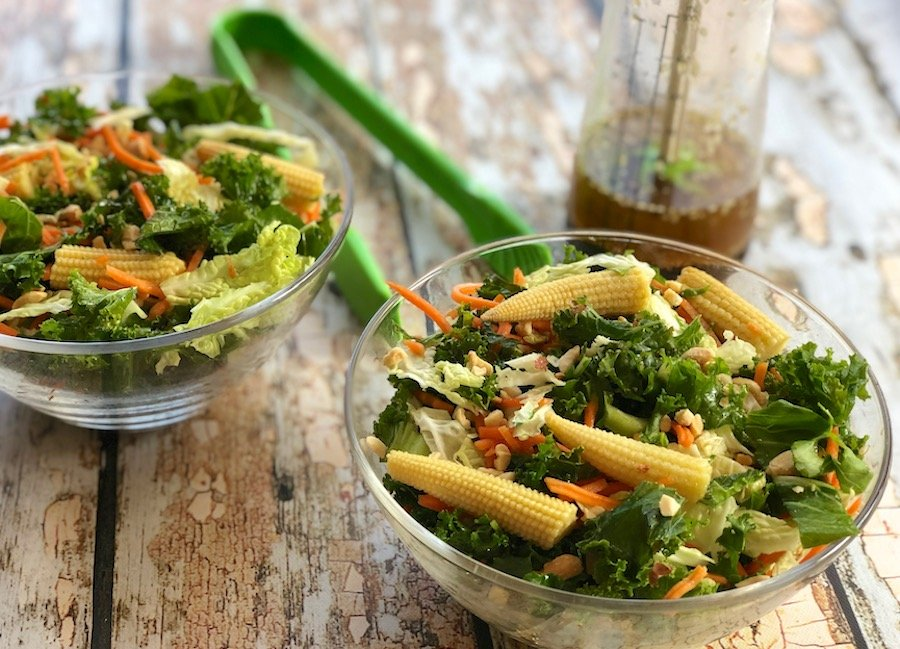 Kale and cabbage salad with sesame-ginger salad dressing