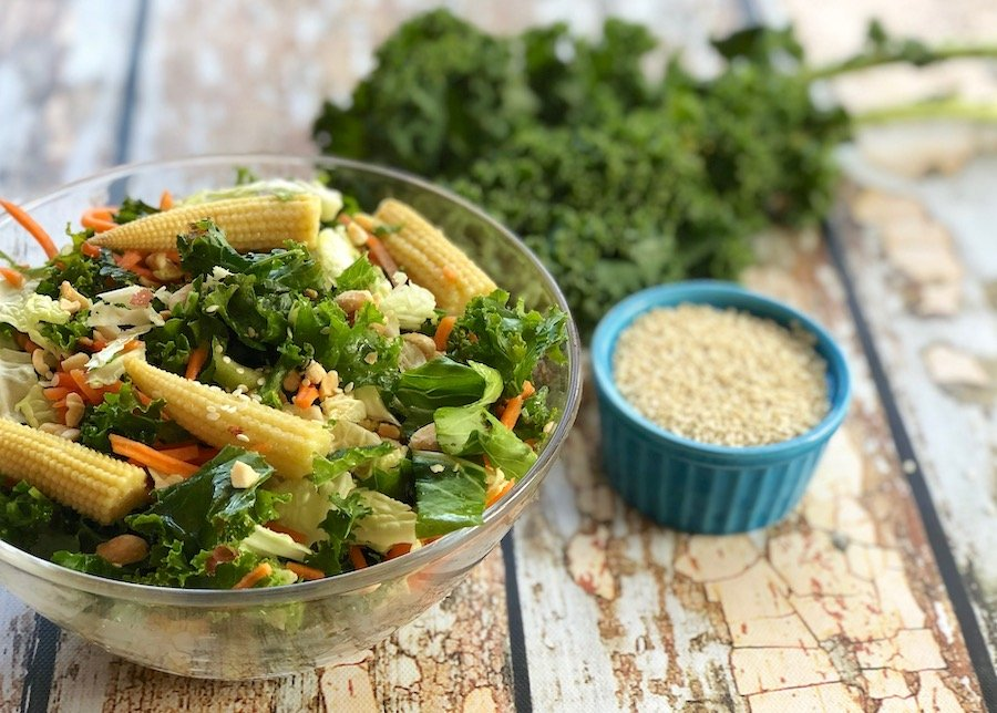 Kale salad with bok choy and baby corn
