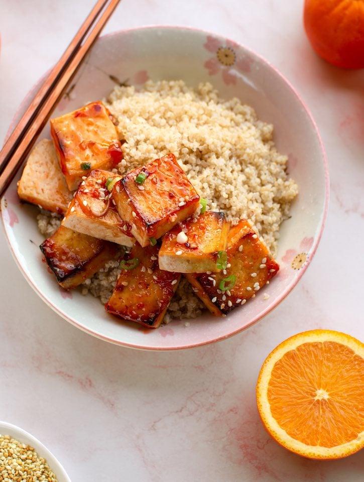 Orange-glazed tofu