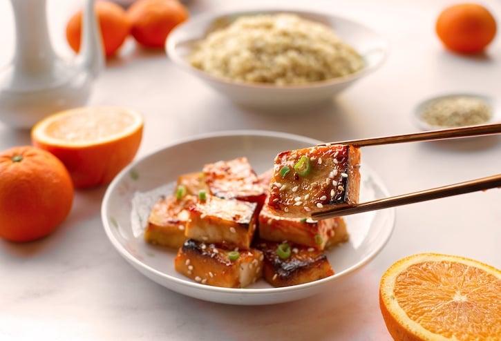 Orange-glazed tofu - sweet and savory