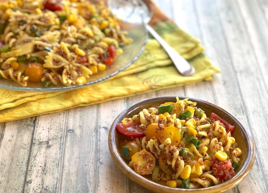Pasta and quinoa salad with corn and tomatoes