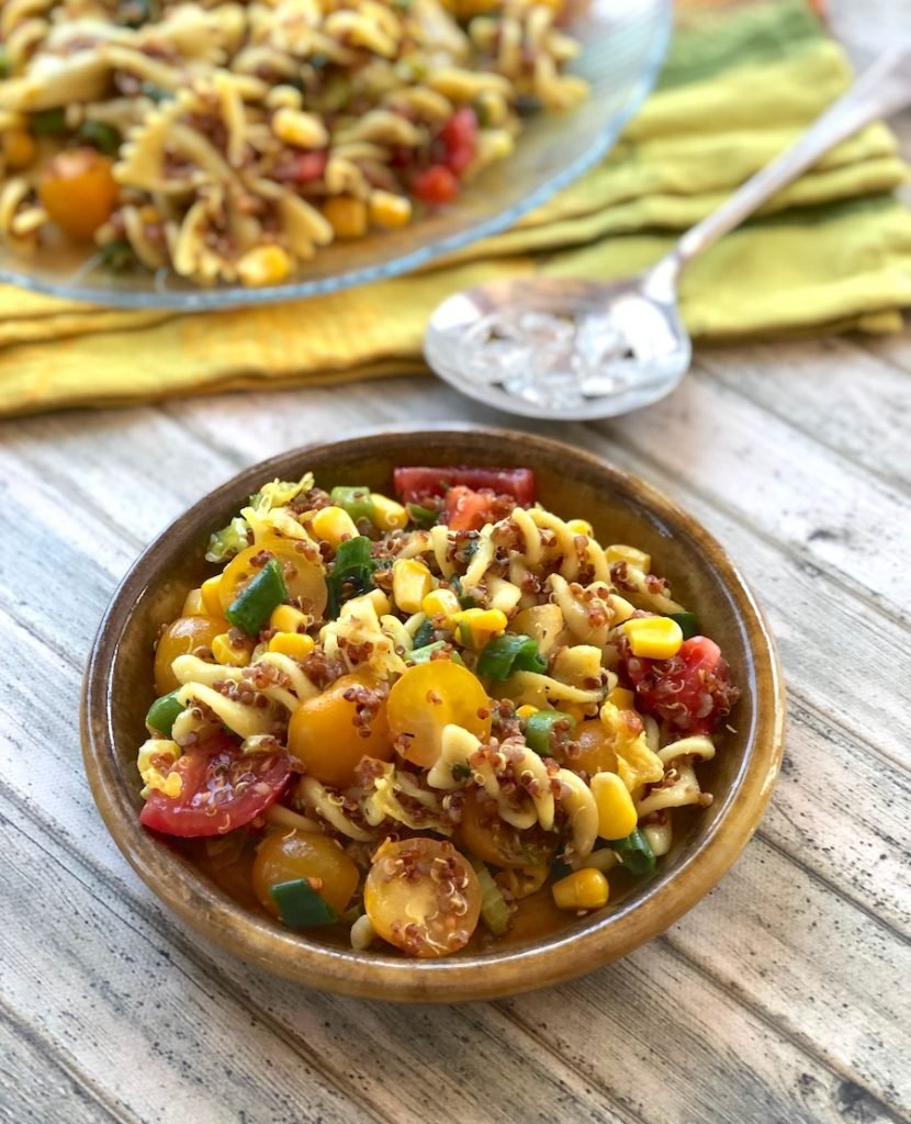 Pasta salad with quinoa, corn, and tomatoes