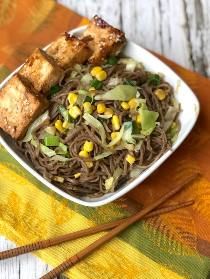 Stir-Fried Soba Noodles with Corn and Cabbage