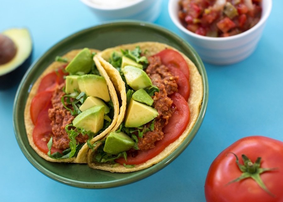 Soft tacos with tempeh walnut filling2l