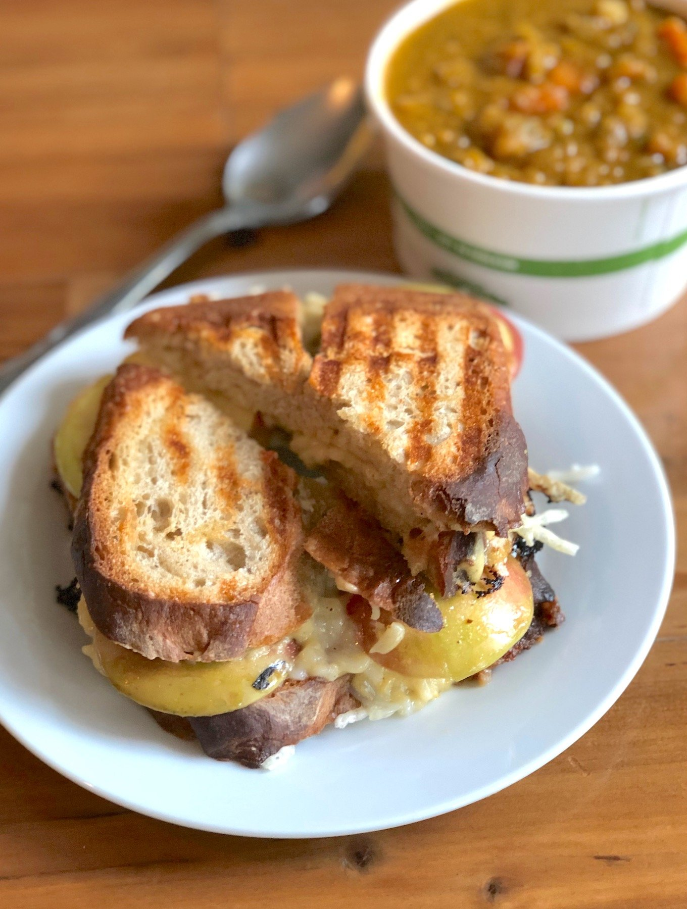 Lentil Soup and vegan grilled cheese sandwich at consciousfork cafe