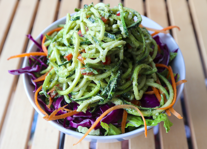 Spiralized zucchini noodles with pesto at Consciousfork