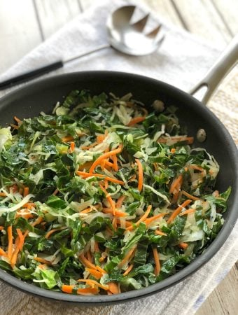 Stir-fried Collard greens with cabbage and carrots