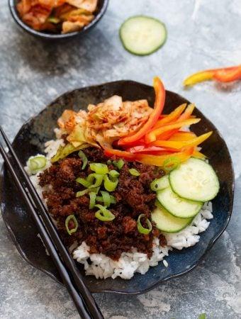 """Vegan Korean """"Beefy"""" Rice Bowls"""