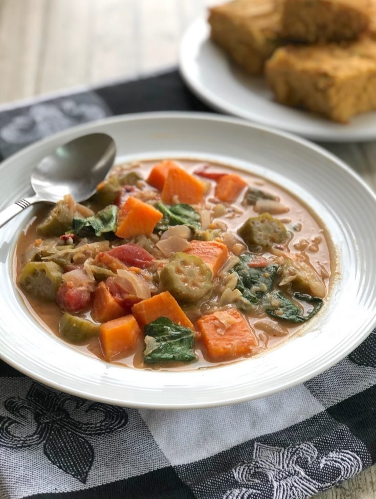 African-Inspired Peanut Stew with Sweet Potatoes and Okra
