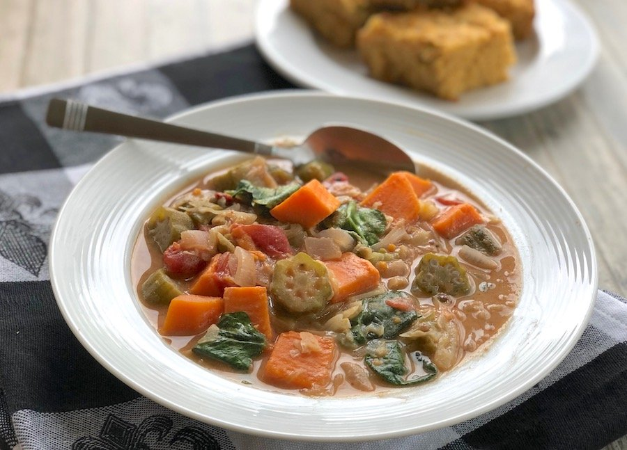 West African Peanut Stew with Sweet Potatoes and Okra