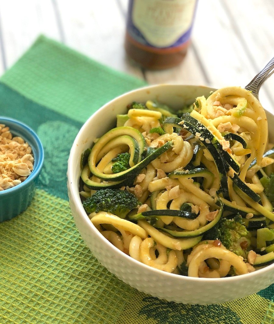 Zucchini noodles with peanut sauce and cilantro