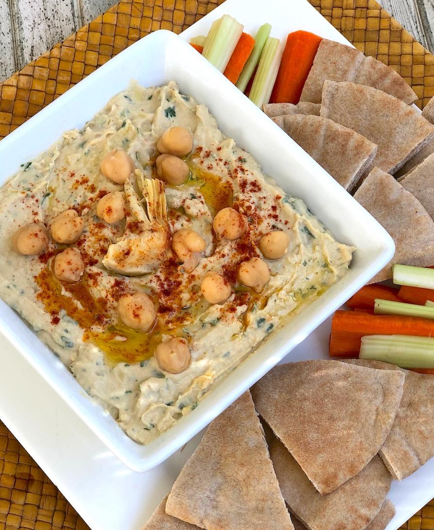Homemade Artichoke hummus
