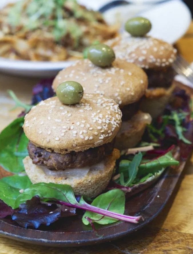 Black Bean Sliders at Hendersons Vegan, Edinburgh