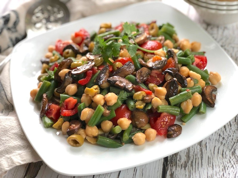 Chickpeas and Green Beans with Balsamic Sautéed Mushrooms1