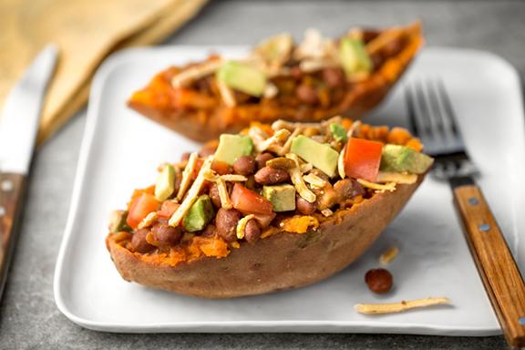 Vegan Chili smashed Sweet Potato