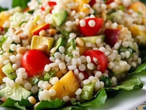 Israeli Couscous Salad With Apricots Tomatoes And Cucumber