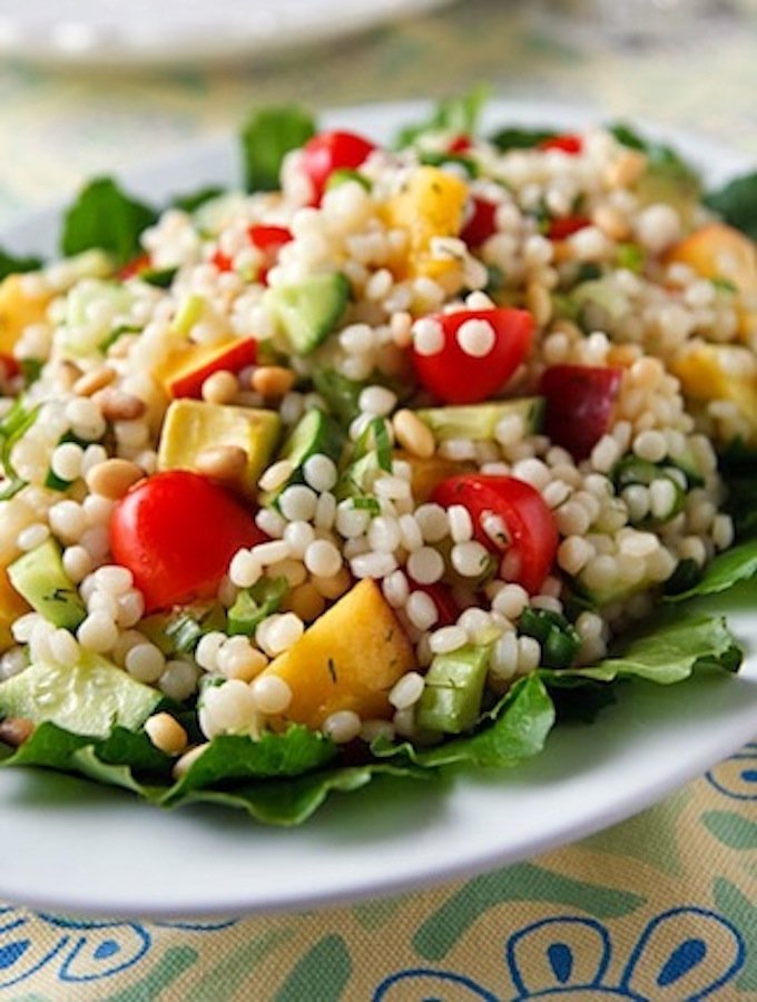Israeli Couscous Salad with Apricots, Tomatoes, and Cucumber