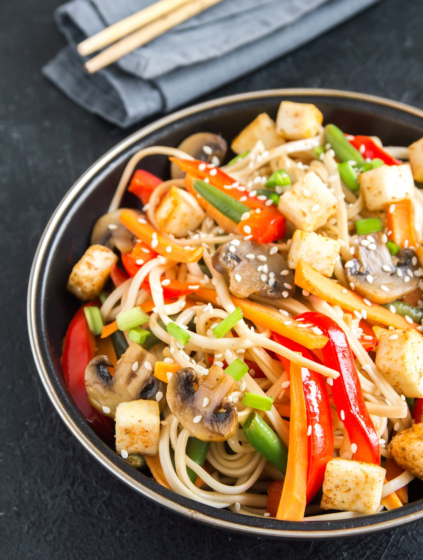 Asian vegetable and noodle stir-fry