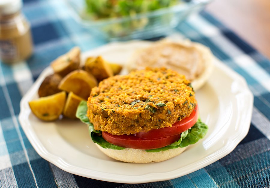 Red lentil and quinoa burgers