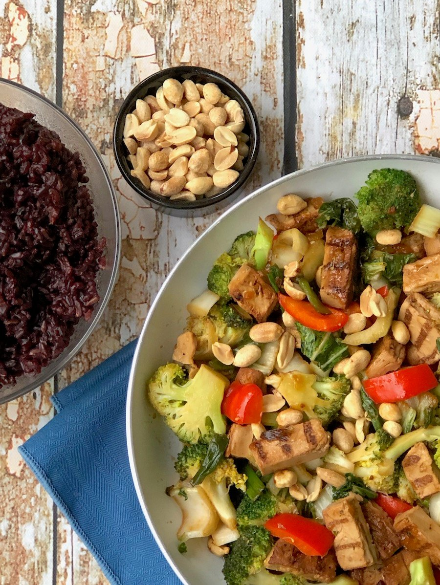 Vegan Orange Chicken with Stir-fried Vegetables