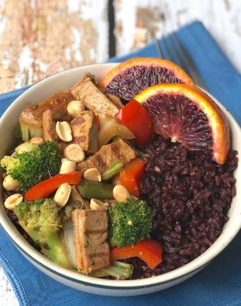 Vegan Orange Chicken with stir-fried Broccoli and vegetables