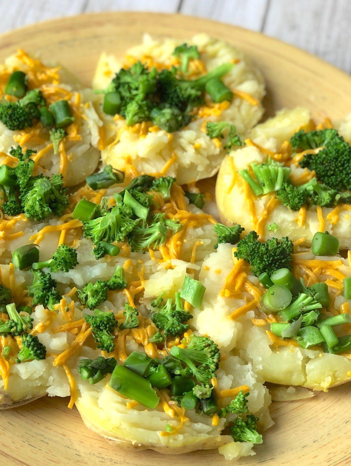 vegan broccoli and cheddar smashed potatoes1