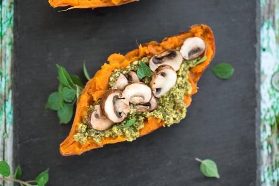 pesto & mushroom stuffed sweet potatoes1