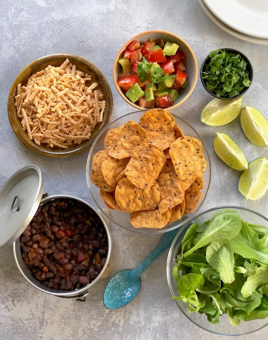 Ingredients for a layered black bean Taco Salad
