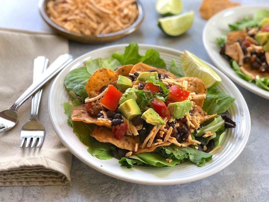 Hot and Cool Black Bean Taco Salad