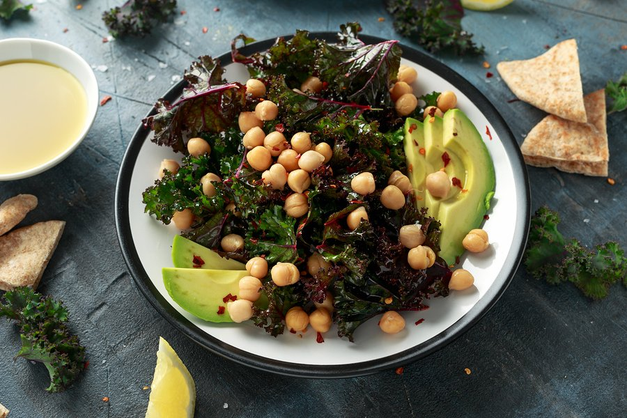 Kale Salad with Chickpeas and Avocado Salad