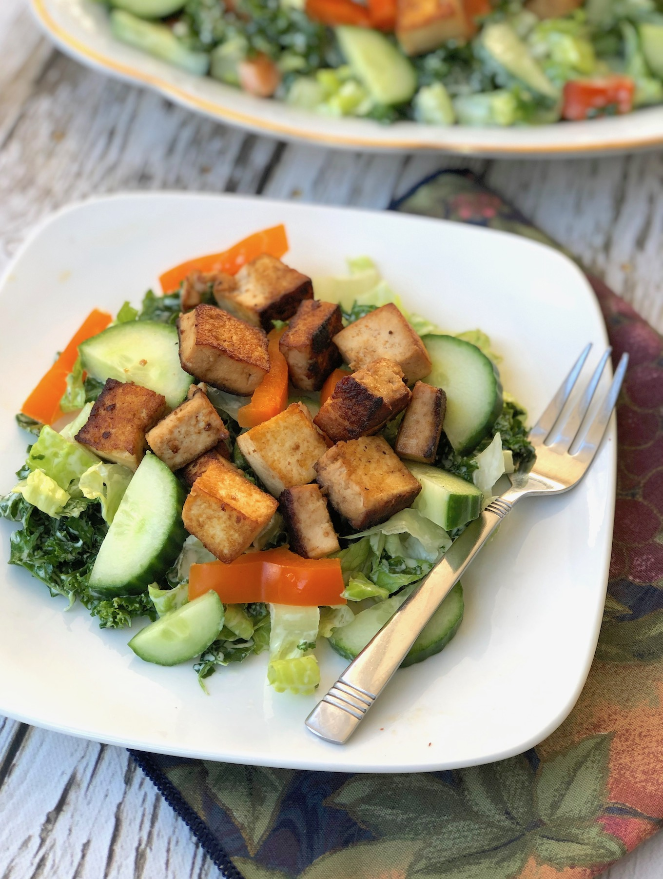 Kale & Cucumber Salad with Tofu