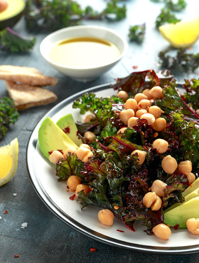 Kale Salad with Chickpeas, Avocado - Lemony vinaigrette
