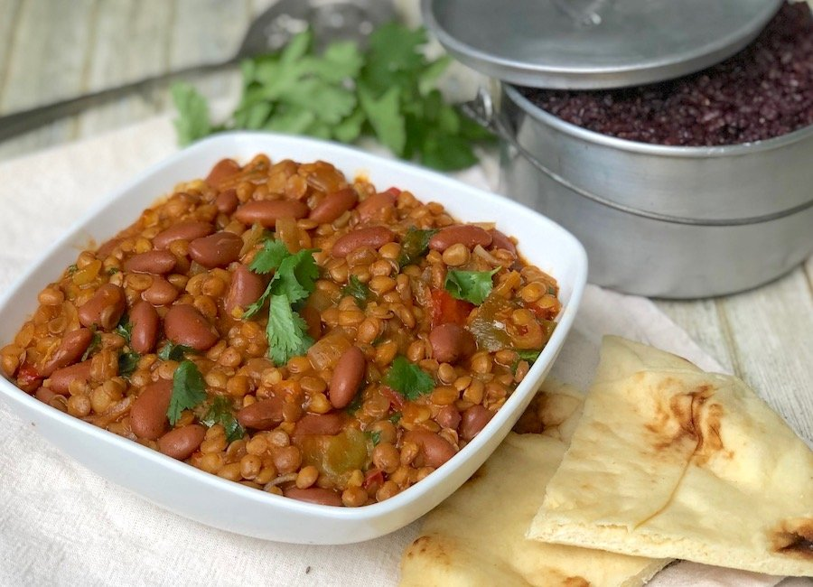 Quick Lentil and Kidney Bean Curry