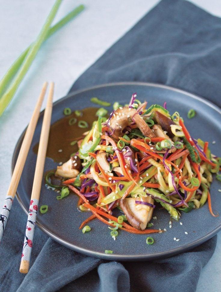 "Raw Wok Vegetable ""Stir-Fry"" Zucchini Noodles"