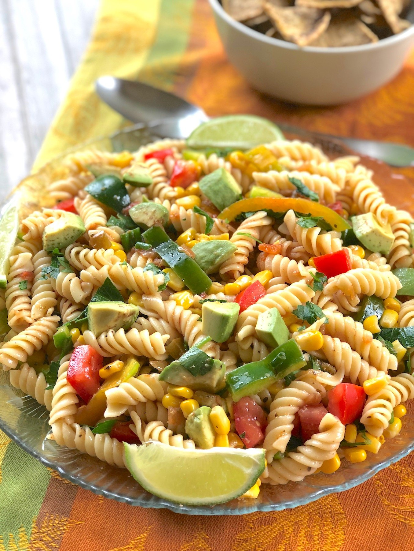 Salsa Pasta Salad with avocado, corn, and peppers