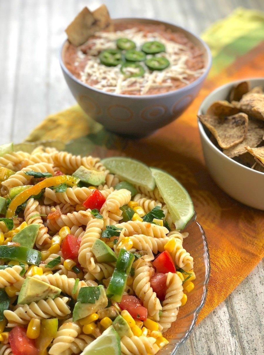 Southwestern-flavored salsa pasta salad