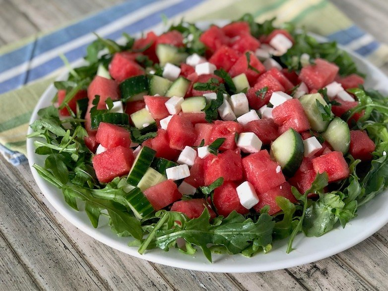 Watermelon and feta Salad with cucumber