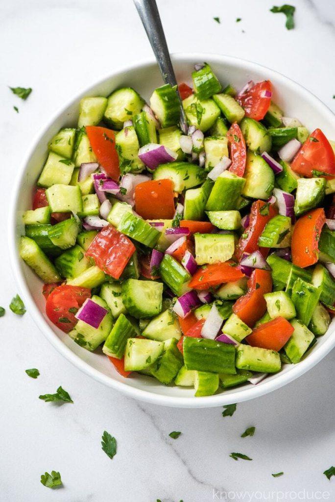 shirazi-salad with tomatoes, cucumbers, and fresh mint