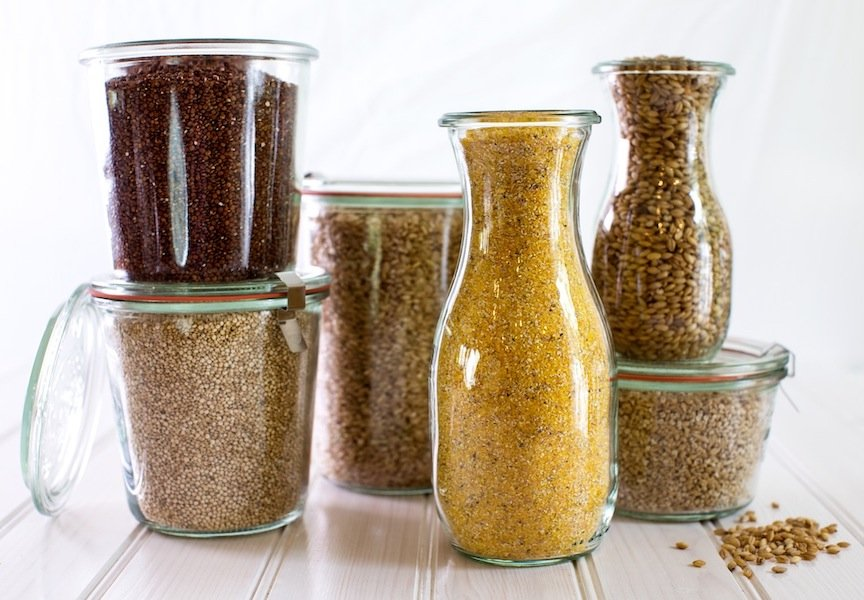 Jars with grains
