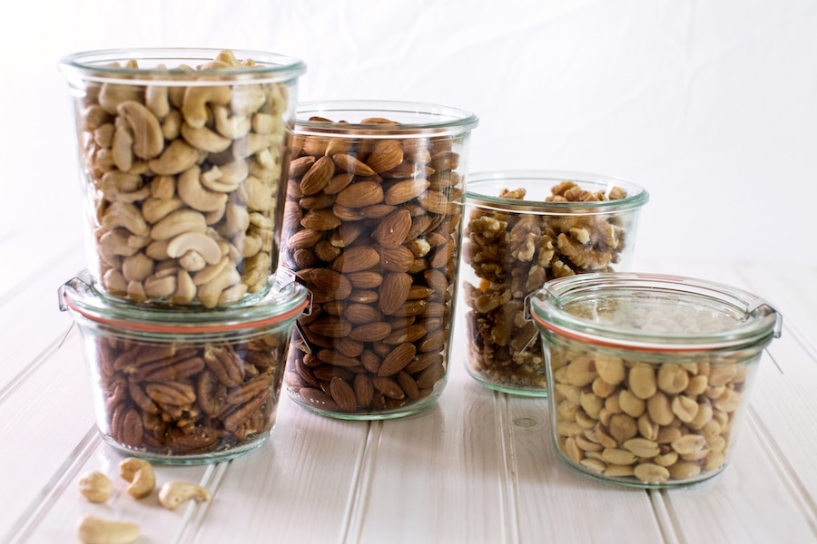 Jars with nuts