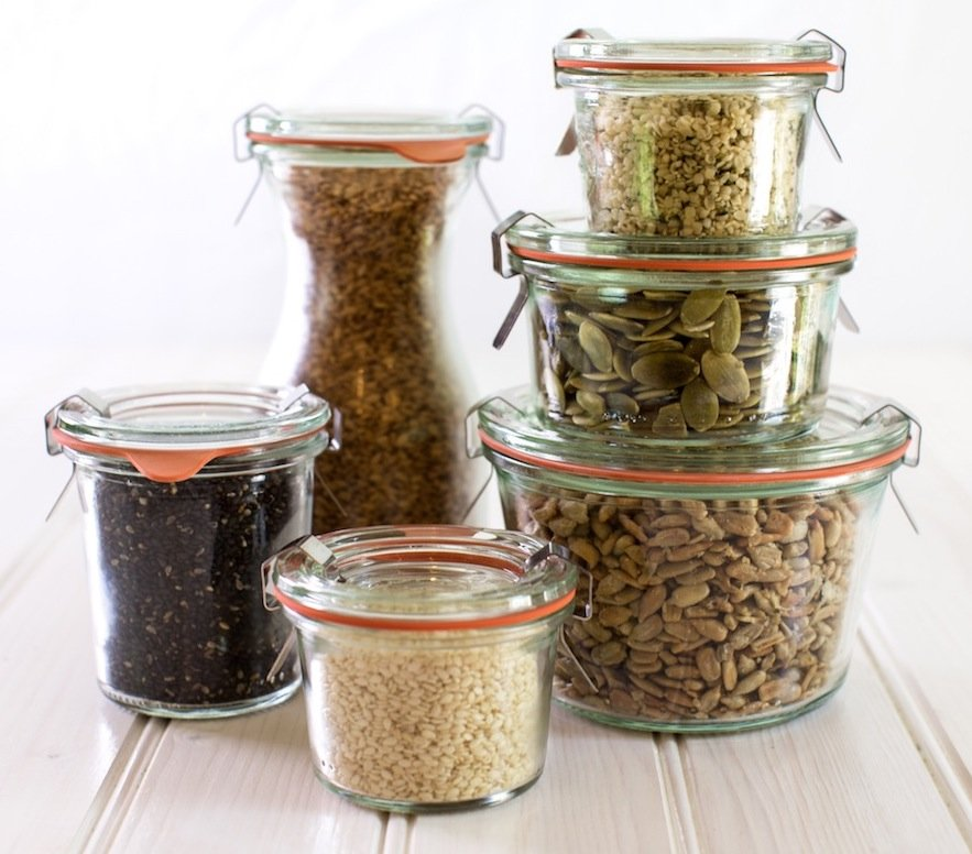 Jars with seeds