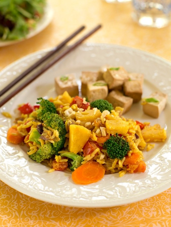Thai pineapple coconut stir-fried rice