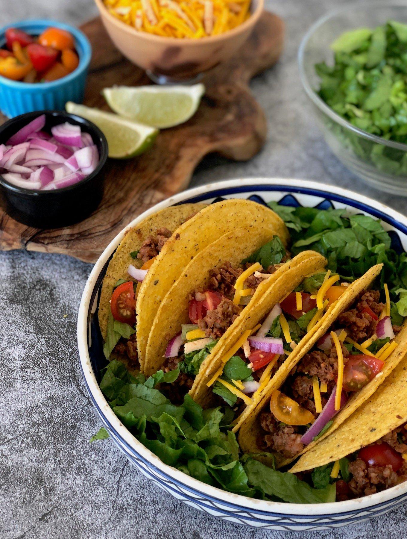 Beefless Taco Crumbles using walnuts, mushrooms, and bulgur or quinoa