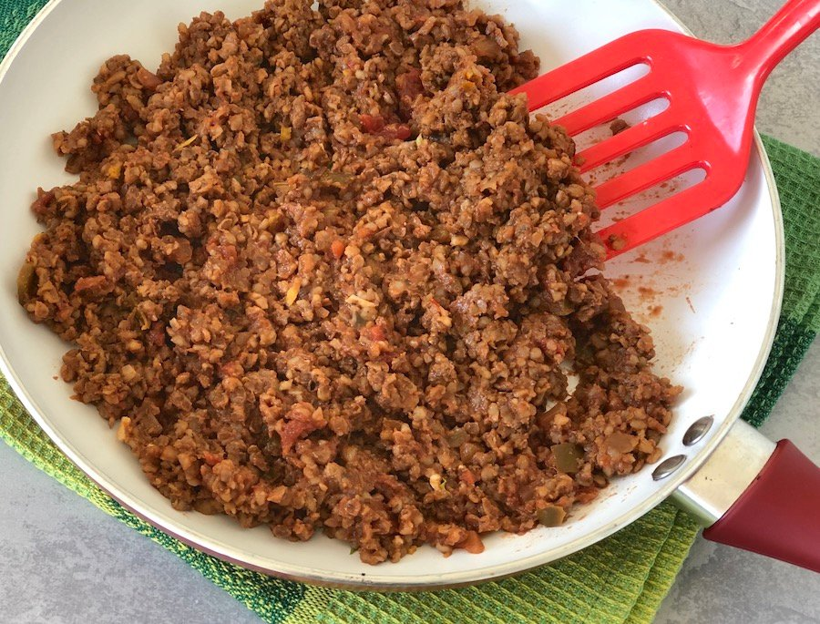 Vegan Beefless Taco Crumbles using walnuts, mushrooms, and quinoa or bulgur
