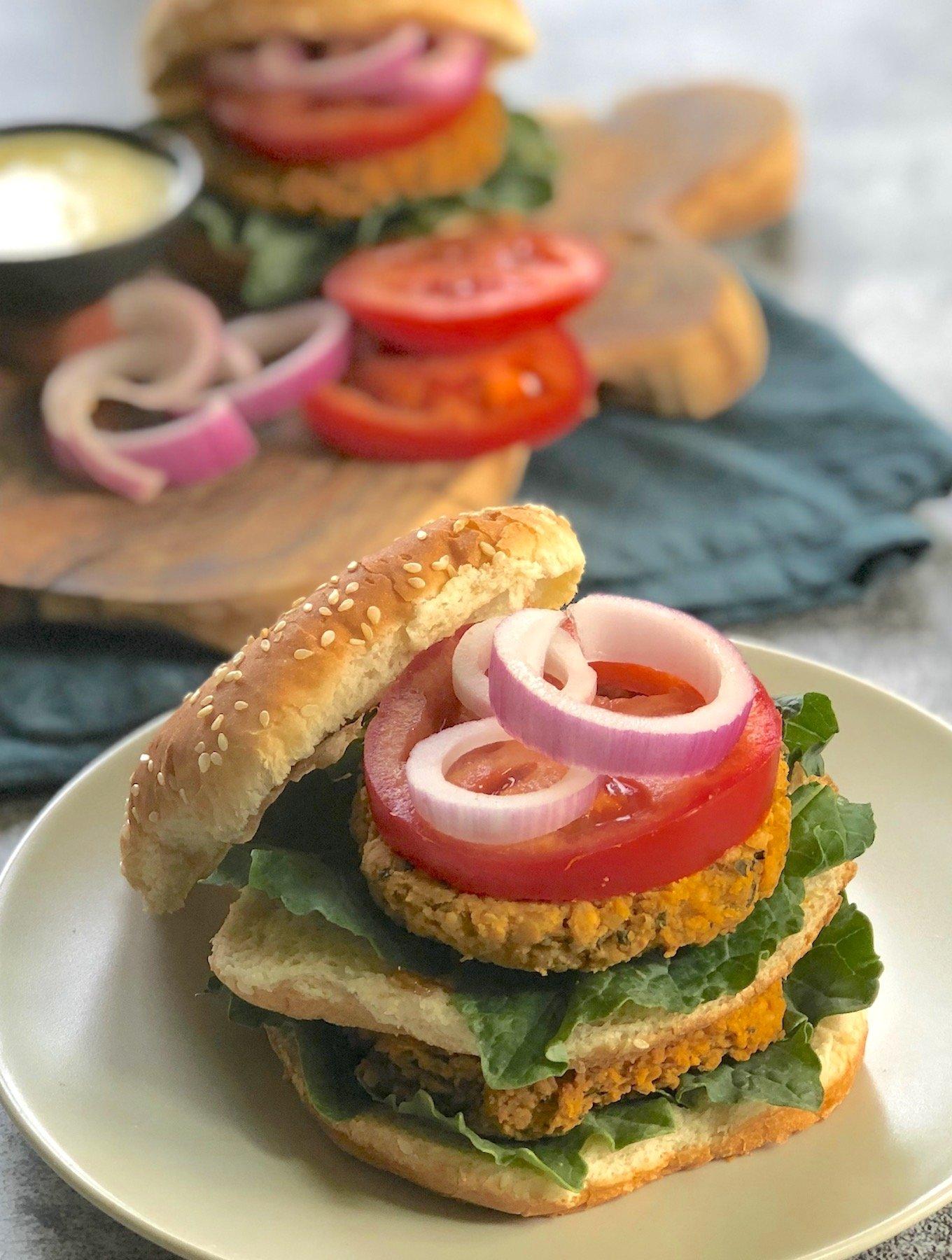 Vegan Curried Chickpea Burgers